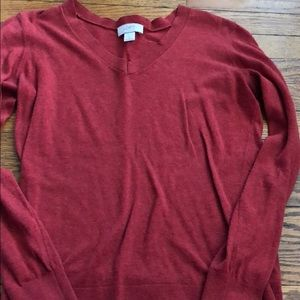 Loft Red Lightweight V Neck Sweater Size Small